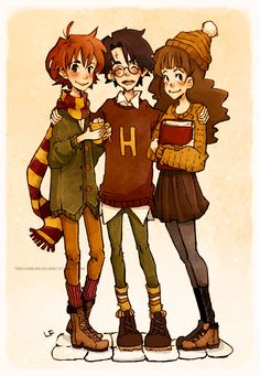 Ron, Harry, and Hermione - Harry Potter Harry Potter Anime, Harry Potter Fan Art, Mundo Harry Potter, Harry Potter Universal, Harry Potter Fandom, Hermione Granger, Harry And Hermione, Harry Harry, Draco Malfoy
