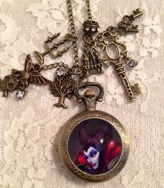 Maleficent Inspired  Theme Pocket Watch. Antique Bronze Tone