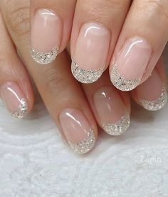 Cute Nail Art Design Ideas With Pretty & Creative Details : val Shaped Glitter Tips
