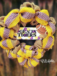 LSU Geaux Tigers burlap football wreath  on Etsy, $60.00