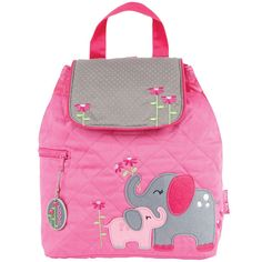 Quilted elephant themed backpack with drawstring top. Great for a childs toy bag, backpack, or diaper bag!  Personalization included! First name will be embroidered in pink on the top flap. Please note the name you would like when you checkout.  Approximately 12 by 13.5.  Checkout my shop for other great childrens items