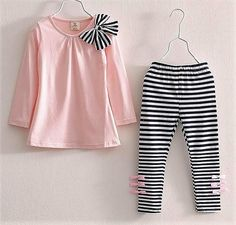 Baby Kids Clothes Girls Sets 2019 New Cotton Casual Children Clothing Set Long Sleeve Tops Striped Pants Roupas Infantis Menina Dresses Kids Girl, Kids Outfits Girls, Toddler Outfits, Baby Outfits, Shirts For Girls, Cute Outfits, Kids Girls Tops, Sporty Outfits, Legging Outfits