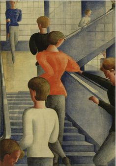 "By Oskar Schlemmer (1888–1943),  1932, Bauhaus Stairway. Schlemmer painted this work shortly before the Nazis closed the Bauhaus for good. He was among many artists persecuted by the Nazis, whose work they deemed ""degenerate"" and often destroyed."
