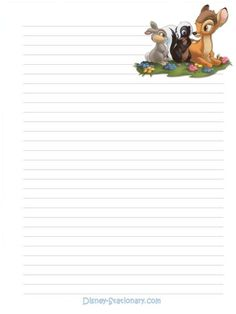 Printable Lined Paper, Free Printable Stationery, Printable Recipe Cards, Bambi, Disney Writing, Lined Writing Paper, Disney Printables, Stationery Paper, Note Paper