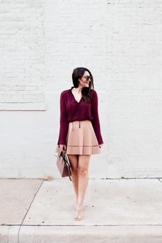 ALC pleated skirt with burgundy top on Kendi Everyday