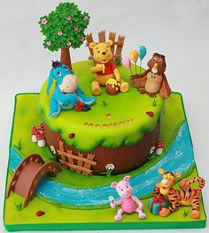 Winnie The Pooh Cake, Winne The Pooh, Winnie The Pooh Birthday, Jungle Theme Birthday, Baby Birthday Cakes, Fondant Cake Designs, Artist Cake, Friends Cake, Farm Cake