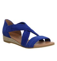 Cross strap espadrille sandal in dark blue suede with small midi wedge heel. Office, £45