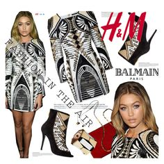 Balmain for H&M collaboration by julesdiaries on Polyvore featuring Balmain, H&M, Anja, HM, balmain, collaboration, gigihadid and hmbalmaination