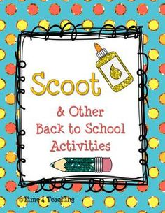 Get to know your students with this Back to School Scoot Game.  Writing, Graphing and Art Activities for that first week of school are also included.