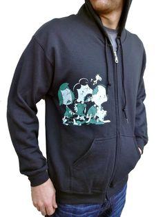 Men Graphic Sweatshirt Black Zip Up Hoodie Zip by REVIVALINK