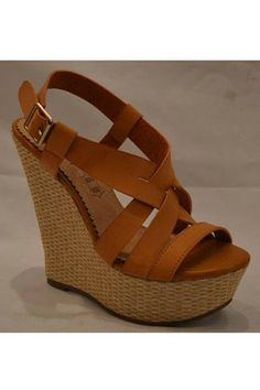 tan to camel colored wedge, NO CORK HEELS! NO EMBELLISHMENTS! open toed!!!