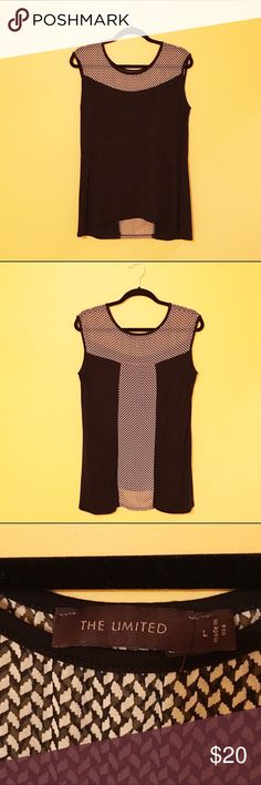 The Limited Dressy Sleeveless Top This is a knit, sleeveless top that is in great condition. It is black but where the print is, it is a sheer fabric. I wore it only once. The Limited Tops