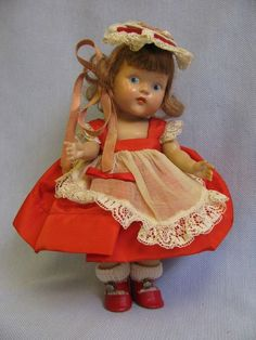 "7 ½"" RARE Vintage GINNY 1950 VALENTINE GIRL Painted-Eye DOLL"