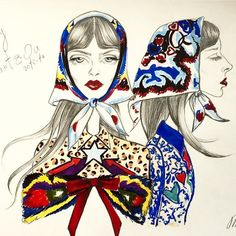 Illustration by Marietta Osyan Drawing Sketches, Drawings, Mary Katrantzou, Fashion Show, Women Wear, Princess Zelda, Illustration, Anime, Painting