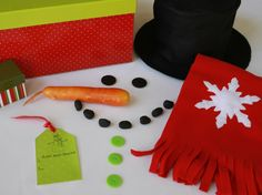 Snowman Kit by Make it Do  Make a snowman kit and package it in a container that's weather resistant so we can bring it outdoors.  Could probably manage to sew the hat and scarf. Michael's should have the rest of the supplies.