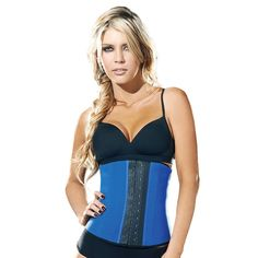 70bb64165b 3 Hooks Latex Waist Cincher Steel Boned Corsets Blue LC3135 Latex Waist  Trainer