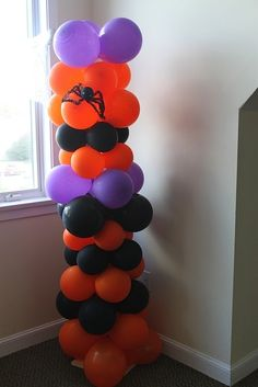 I would have something hidden inside each balloon. Kids take turns popping the balloon to reveal candy treat, do what the paper says to do (cluck like a chicken), go give your mom a kiss. Halloween Balloons, Halloween Photos, Halloween Boo, Halloween Birthday, Halloween Season, Halloween Party Decor, Holidays Halloween, Halloween Crafts, Happy Halloween