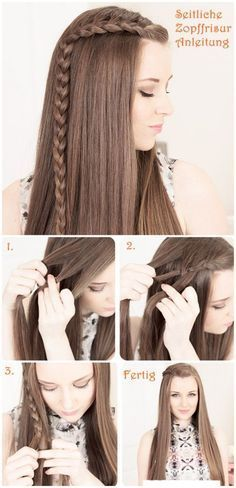 side braid Flechtfrisuren Hair Tutorial would be cute with curls too. Fast easy hair do Pretty Hairstyles, Girl Hairstyles, Braided Hairstyles, Bangs Hairstyle, Latest Hairstyles, Hairdos, Hair Bangs, Makeup Hairstyle, Elegant Hairstyles