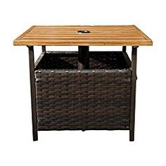 SunLife Outdoor PE Wicker Stand Side Table, Garden Patio Tea/ Coffee Table with Umbrella Hole