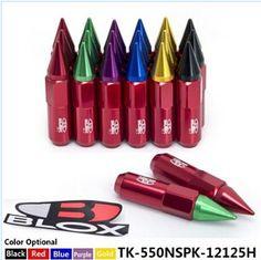 Blox 20Pcs 12X1.5 Mix Color Spiked Aluminum 60MM Extended Tuner Wheels Rims Lug Nuts Racing Jdm TK-550NSPK-12125H
