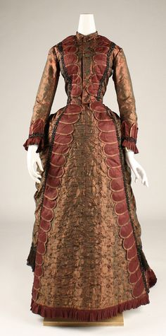 ~Dress, bronze Date: 1877 Culture: American Medium: silk~    Accession Number: C.I.53.37 The Metropolitan Museum of Art