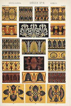 Image Plate from Owen Jones 1853 classic, The Grammar of Ornament. Ancient Greek Art, Ancient Greece, Ancient Book, Greek Pattern, Pattern Art, Oriental Pattern, Art Nouveau, Architectural Pattern, Motif Art Deco