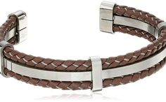 Men's Stainless Steel and Brown Leather Cuff Bracelet