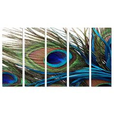 Peacock Feather Oriental Huge Wall Art Decor by CanvasCEO on Etsy