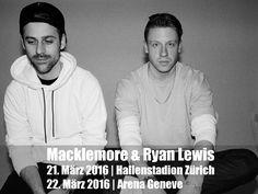 """Macklemore & Ryan Lewis sind wieder da! Die Single """"Downtown"""" ist der erste Vorbote auf das zweite Album, welches im Winter erscheinen wird. Mit diesem im Gepäck gibt das Duo ein Konzert am 21. März 2016 im Hallenstadion Zürich und am 22. März 2016 in der Arena Genf. Tickets sind ab dem Freitag, 30. Oktober 2015 um 10.30 Uhr (Genf) und 11 Uhr (Zürich) erhältlich und zwar bei Ticketcorner."""