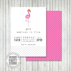 Pink Flamingo Theme Printable Birthday Party Invitation or Baby Shower - Petite Party Studio on Etsy, $16.41 AUD