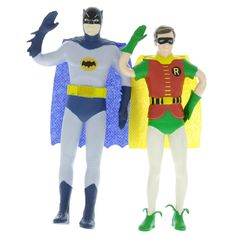 Set of two posable DC Comics superhero figures. Great kids toys for children ages 3 and up, and for fans of the 1960s Batman TV show. Each measures approximately 5.5
