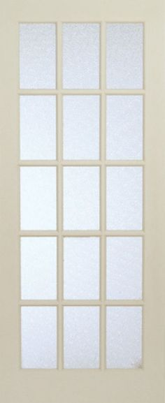 32 Inch X 80 Inch Primed 15 Lite Interior French Door With Martele Privacy