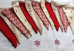 Christmas Bunting Scandinavian Style - 12 flag Fabric Garland Banner - 8.5ft long (order early for Christmas) by Melsey on Etsy https://www.etsy.com/listing/110564218/christmas-bunting-scandinavian-style-12