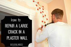 Here's a tutorial on repairing large cracks in plaster walls.