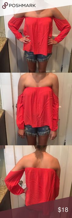 Off the Shoulder Top Off the Shoulder Top. Tag says One Size Fits Most.. Probably XS-M. Coral/Orange Red in color. Only worn 2-3 times. Great condition! Tops