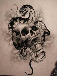 Эскиз татуировки змеи, извивающейся сквозь череп