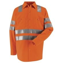 Red Kap Hi-Visibility Orange Long Sleeve Work Shirt - Class 3 Level 2 SS14OF | Hi Vis Safety Direct will beat any other price , we are #1 in Hi Visibility Items .