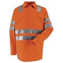 Red Kap Hi-Visibility Orange Long Sleeve Work Shirt - Class 3 Level 2 Orange Long Sleeve Shirt, Long Sleeve Shirts, Work Shirts, Motorcycle Jacket, Safety, Shirt Dress, Red, Mens Tops, Jackets