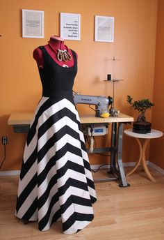 This is a black and white stripped skirt, custom made to order.  it is made with…