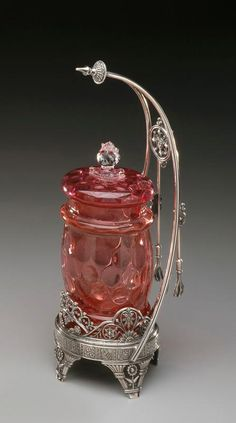 1885 James W.Tufts Co. Cranberry Glass Pickle Castor on Silver Stand
