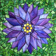 "Purple Water Lily, stained glass mosaic, 11"" x 11"" (12"" x12"" framed), 2014 by Kasia Polkowska Visit Kasia Mosaics on Facebook: https://www.facebook.com/KasiaMosaics"