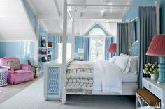 C. Wonder Founder J. Christopher Burch's Spirited Hamptons Beach House ~ MASTER BEDROOM In the master bedroom, the bed and the television cabinet at its foot were designed by Maya.