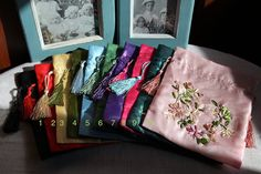 Ribbon Embroidery Drawstring Bags with beautiful fringes by Lifeix