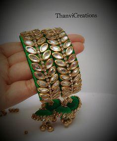 Bangles Silk Thread Bangles Design, Silk Bangles, Thread Jewellery, Fabric Jewelry, Beaded Jewelry, Handmade Jewelry, Diy Necklace Bracelet, Bracelets, Jewelry Making Tutorials