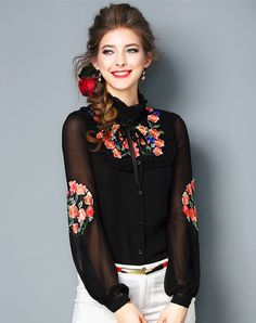 #VIPme Black Floral Embroidery Lantern Sleeve Chiffon Shirt ❤️ Get more outfit ideas and style inspiration from fashion designers at VIPme.com.