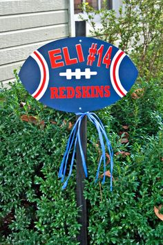 Customized Hand-Painted Football Team/School/Player Yard Sign.  I can make it to match your school colors with any name and jersey#.  $25.00