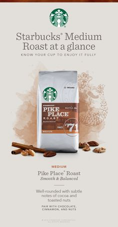 Medium-roasted coffees like Pike Place Roast, are balanced with smooth and rich flavors. With smooth body and subtle flavors of cocoa and toasted nuts. Brewed fresh every day in our stores, it's a rich, satisfying and balanced cup that is uniquely Starbucks.
