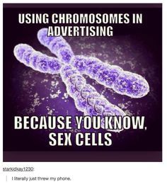 Using chromosomes in advertising...because you know, sex cells.<< BWAHAHAHAAAAA