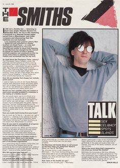 Interview with Johnny Marr of The Smiths - originally published in Record Mirror magazine on June 1984 Johnny Marr, Love Life, My Love, The Libertines, Salford, The Clash, Motown, Beautiful Couple, Will Smith