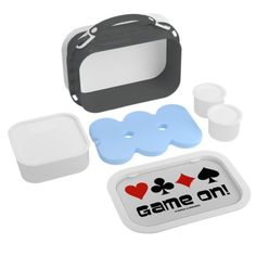 "Game On! (Four Card Suits) Yubo Lunch Boxes #duplicatebridge #fourcardsuits #gameon #bridgegame #acbl #bridgeplayer #bridgesaying #bridgehumor #gamer #wordsandunwords Let your wry bridge player shine with this lunchbox featuring the four card suits along with the caption that says it all: ""Game On!"""